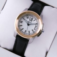 Calibre de Cartier womens watch silver dial two-tone pink gold and steel